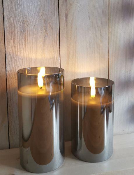 1 LED Kerze Timer im Glas Rauch Grau 15cm x 7,5cm
