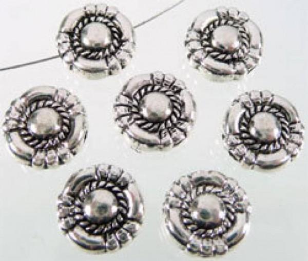1 Perle flach 10mm silber/platin Metall 06330