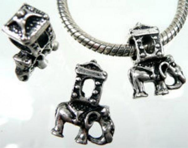 1 Bead silber Elefant 01524