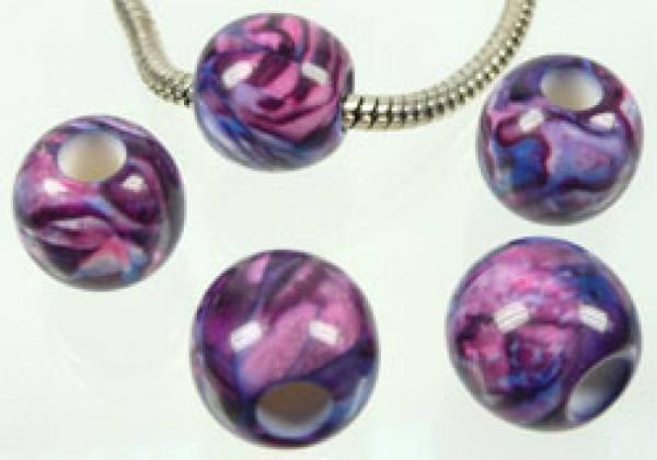 1 Bead Kunststoff 14mm violett gemustert 03614