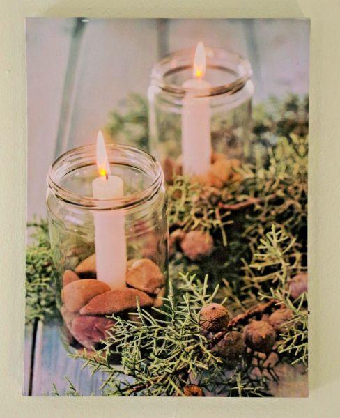"LED Bild "" Kerzen im Glas"""