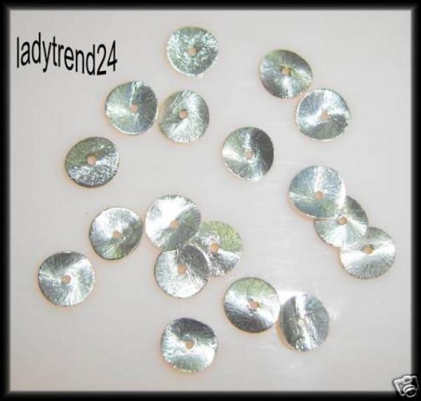 1 Scheibe gewellt 10mm silber Metall gebürstet 310