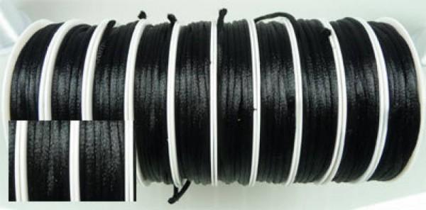 6m Seidenband 2mm Rolle schwarz Kette Band 04823