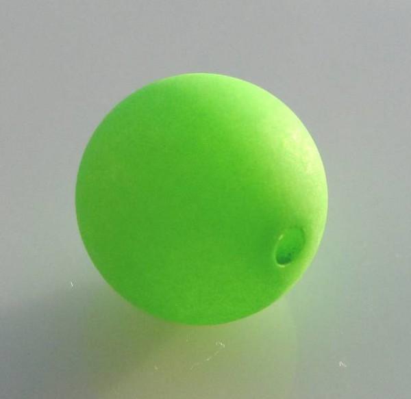 3 Polaris-Perlen 14mm apfelgrün matt