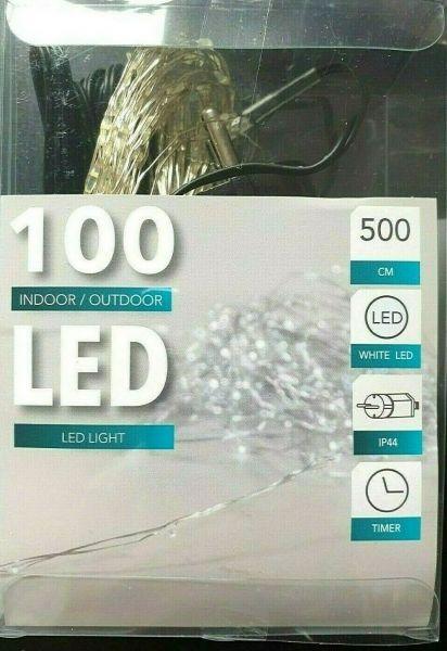 LED Draht Lichterkette kaltweiß 100er Tropfen strombetrieben Timer für innen und außen