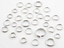 230 Zwischenringe Mix silber/platin 8-12mm Metall 14695