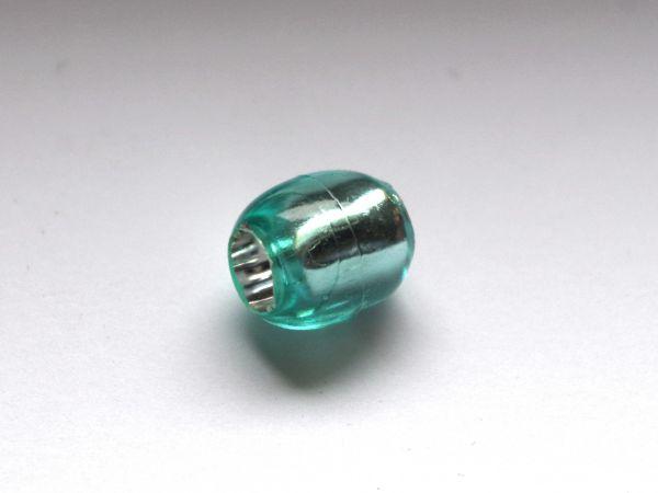 10 Beads 13,5x12mm Olive Kunststoff Silberfolie grün 025263