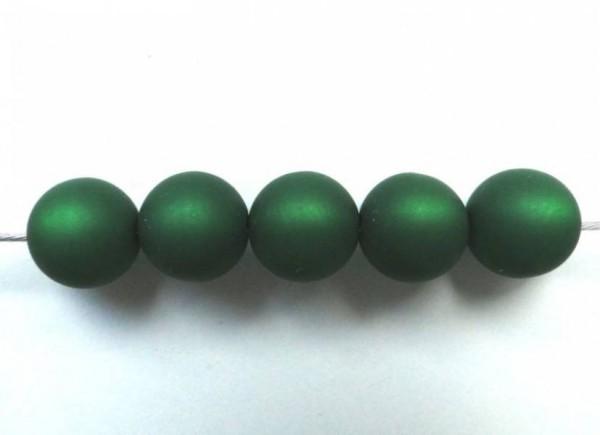 5 Polarisperlen 10mm dunkelgrün matt