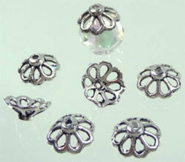 10 Kappen 11mm silber/platin Metall 02427