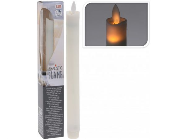 LED Stabkerze Batterie Kerze Timer 23cm bewegliche Flamme flackernd