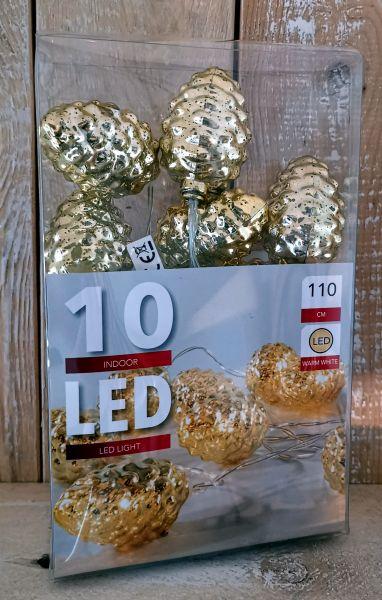 10er LED Zapfen Lichterkette gold Batteriebetrieb