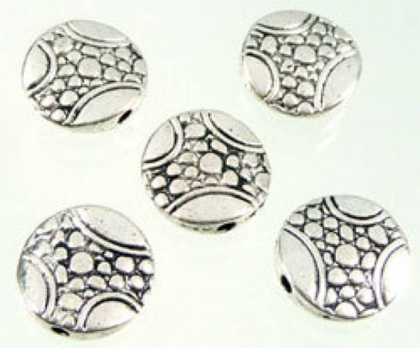 1 x Metallperle flach 12mm silber/platin Perle 08286