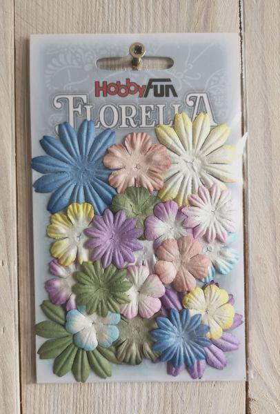 20 Papierblüten Mix II 2-4cm pastell bunt
