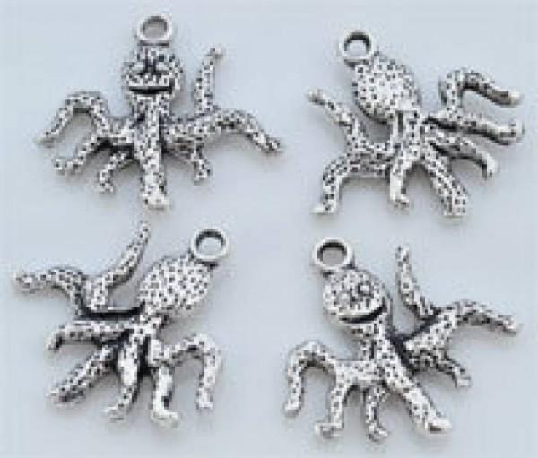 1 Anhänger Charms Krake silber Metall 08837