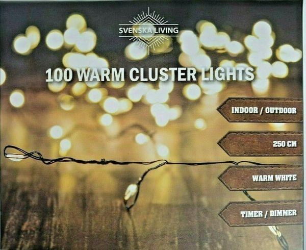 100er LED Drahtlichterkette Cluster warmweiß strombetrieben