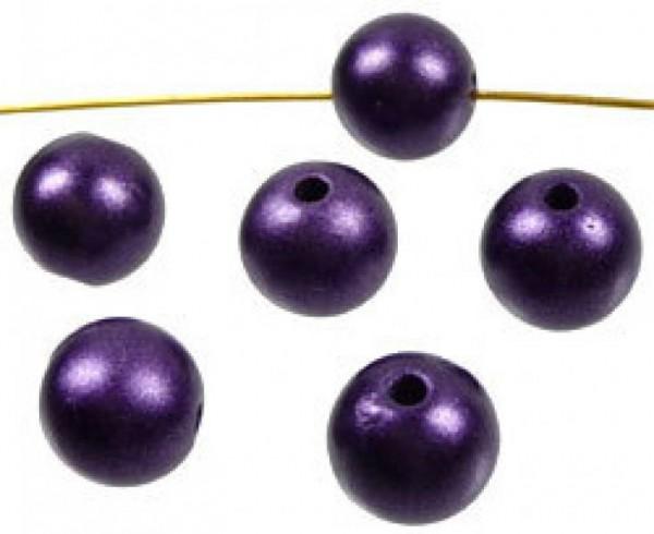 50 Perlen lila matt 10mm Kunststoff 02585