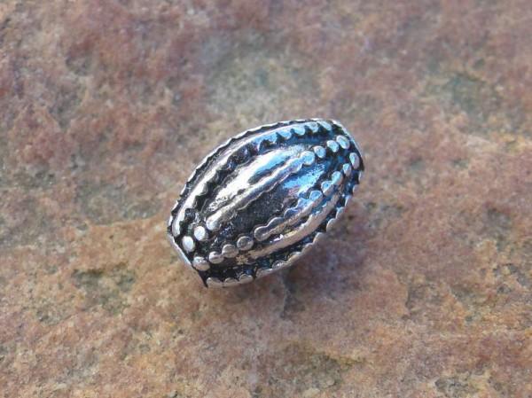 1 Perle Olive 13x9mm Zwischenteil altsilber Metall 09943