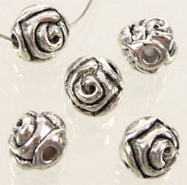 10 Metallperlen Rose 5mm silber/platin Perle 07378