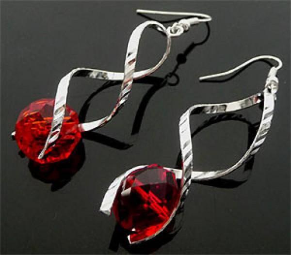 1 Paar Wechsel Ohrringe Spirale 55mm rot 0560