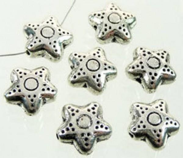 5 Metallperlen Stern 10mm silber/platin 07859