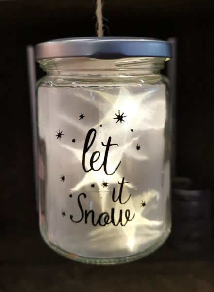LED Glas zum Aufhängen Drahtlichterkette Stern Let it snow