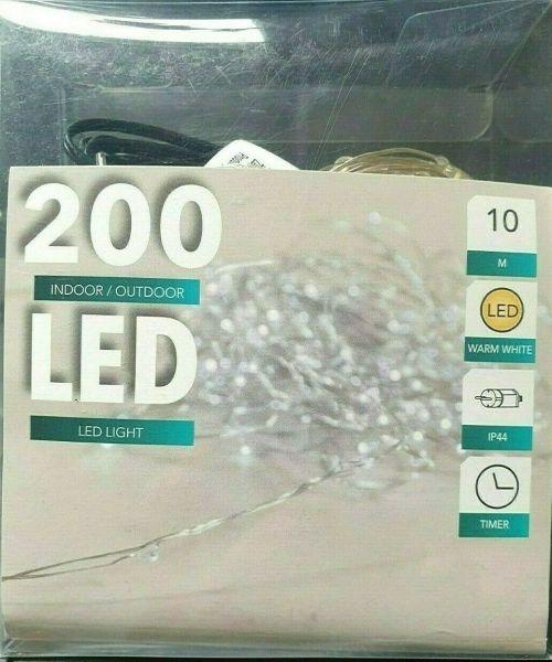 LED Draht Lichterkette kaltweiß 200er Tropfen Strombetrieb Timer für innen und außen