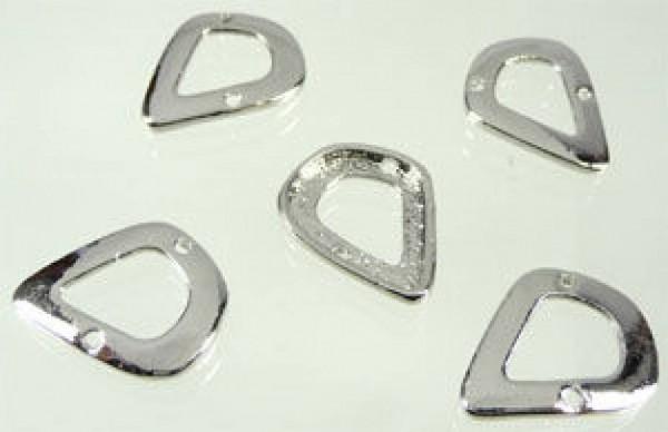 1 Zwischenteil Tropfen Metall 26x20mm silber/platin 05278