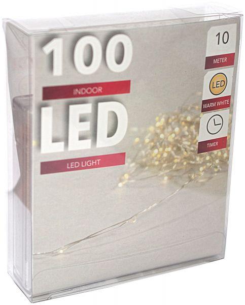 LED Lichterkette 100er Micro Silberdraht Timer batteriebetrieben warmweiss