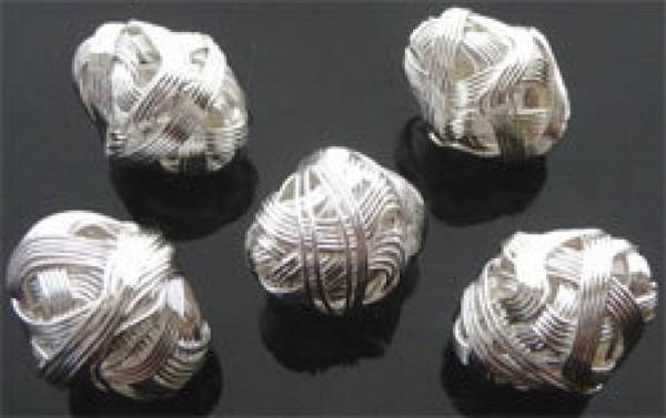 1 Olive 22x18mm gewickelt Metall silber 06400
