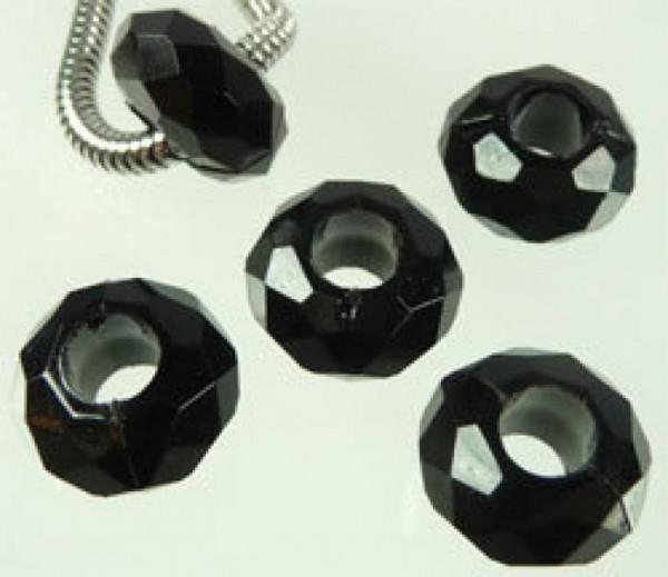 5 Kristall Beads Kunststoff Perle schwarz 06749
