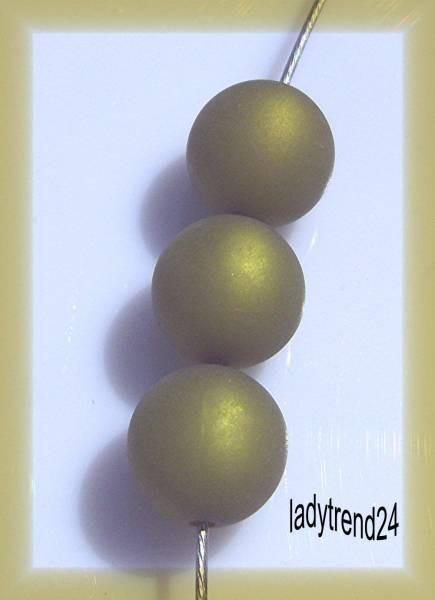 3 Polaris-Perlen 14mm olivgrün matt