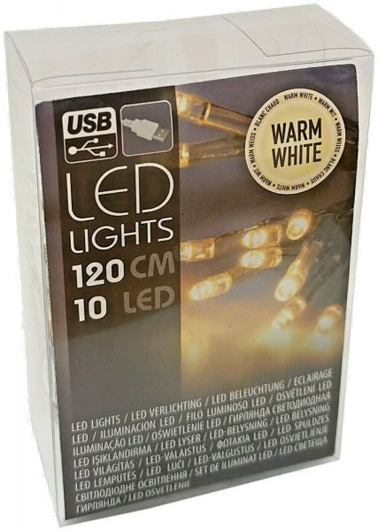 USB LED Lichterkette 10 Lämpchen warmweiß