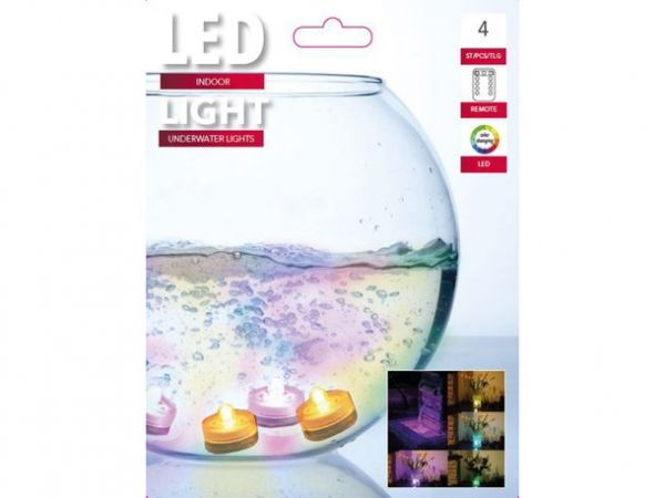 4er Set LED Teelicht Batterie mit Fernbedienung Unterwasser farbig weiß