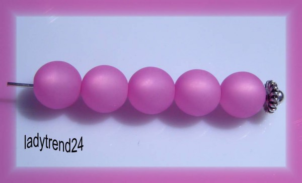 5 Polarisperlen 10mm pink matt