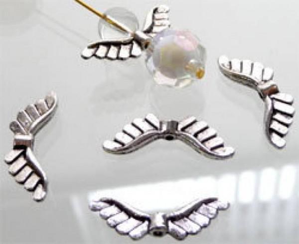 10 Flügel Spacer 24mm Metall silber/platin Engel 02403