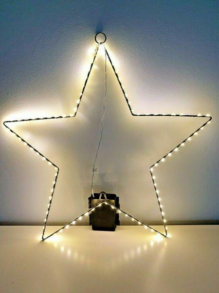 89er LED Drahtstern 40cm warmweiß mit Timer