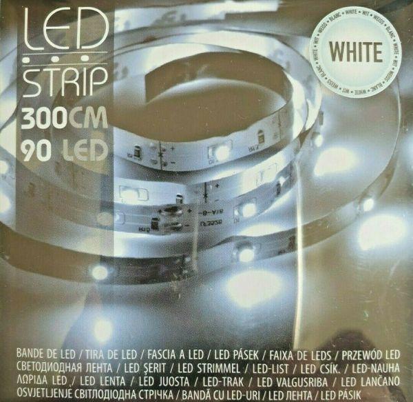 LED Leuchtstreifen Lichterkette 90 Leds kaltweiß Batterie Stripe Leiste 3m
