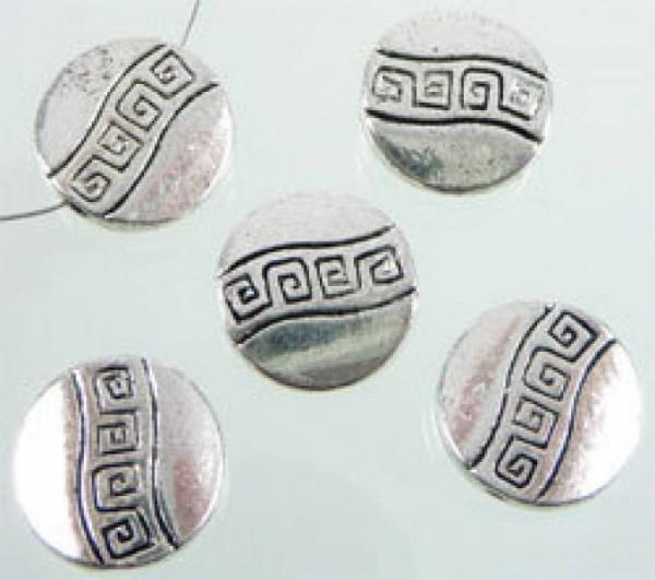 1 Metallperle flach Muster 12mm silber/platin 07431