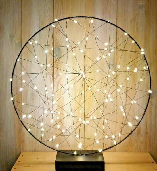 LED Drahtlichterkette Batterie Timer Kreis Rund 40cm schwarz warmweiß