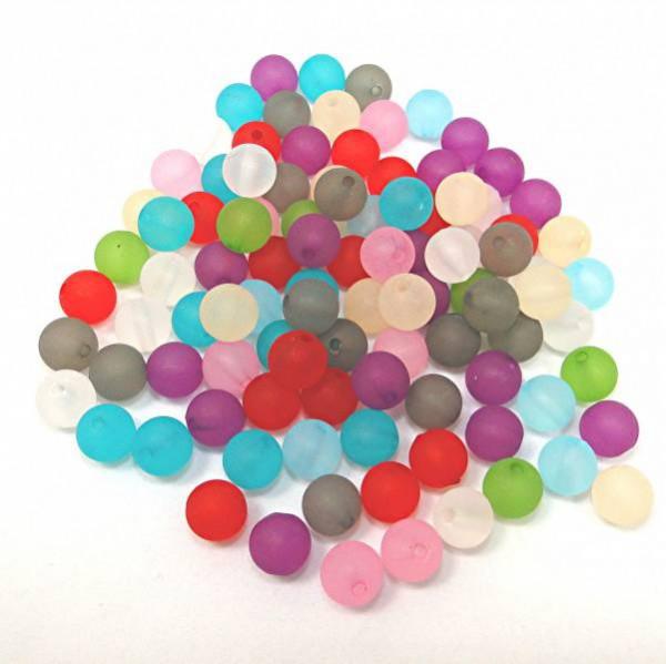 200 Perlen Mix bunt matt 7,5mm Kunststoff 08934