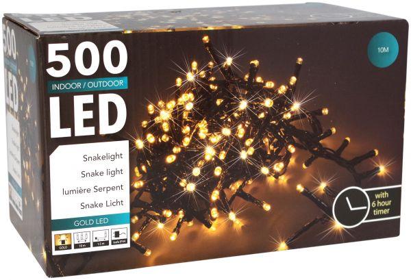 LED Snake 500 er Lichterkette extra warweiß mit Timer strombetrieben für innen und außen