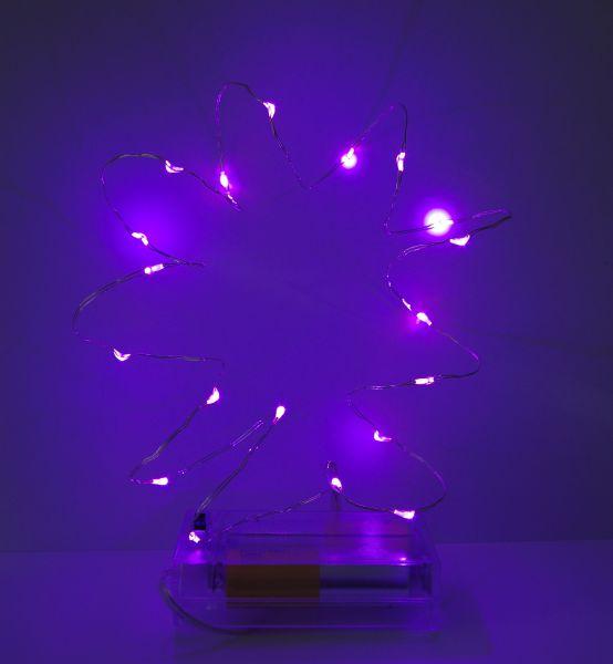 Led Lichterkette 40er Micro Silberdraht batteriebetrieben violett