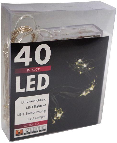 LED Lichterkette Wasserfall 40er ( 8 Stränge x 5 Leds) Micro Silberdraht batteriebetrieben warmweiß