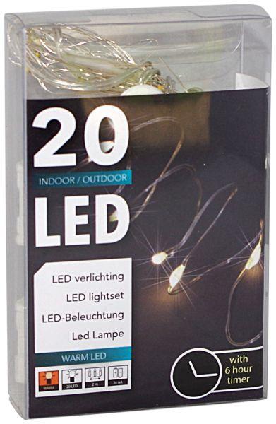 20er LED Draht-Lichterkette mit Timer für außen und innen batteriebetrieben warmweiß