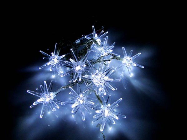 LED Lichterkette 10 Sterne 3D Lämpchen kaltweiss Batteriebetrieb