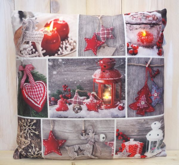 "LED Kissen ""Weihnachtszeit"", rot"