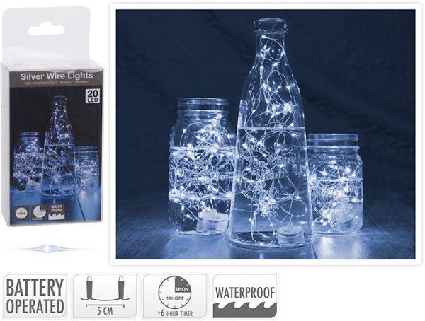 Unterwasser Drahtlichterkette 20 LED's mit Timer kaltweiß