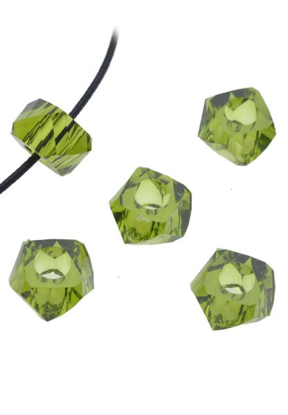 5 Beads 14x8mm Kunststoff facette oliv 17518
