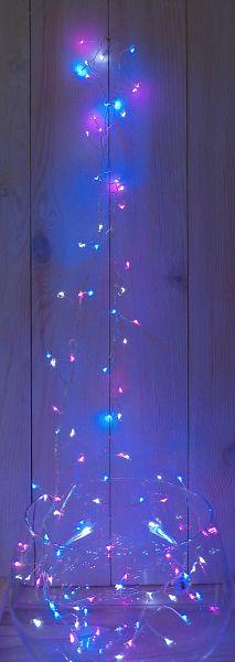 LED Drahtlichterkette Timer 120 LEDS rosa blau weiß